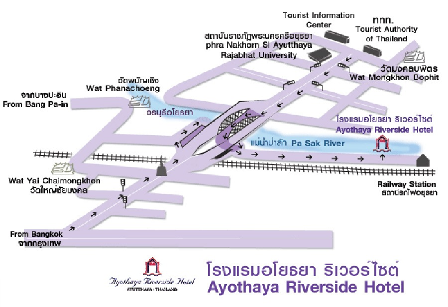 Ayothaya Riveside Hotel Map